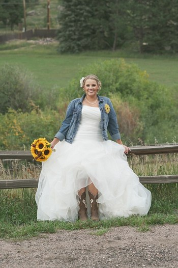bride in a denim jacket | Colorado Wedding