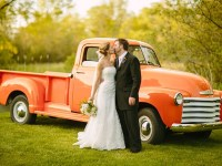 Orange vintage truck | Gedney Farms Wedding in the Berkshires| Shane Godfrey Photography