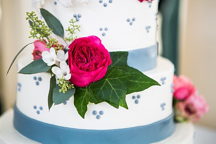 blue and pink wedding cake | Photography by Anne Skidmore via @mtnsidebride