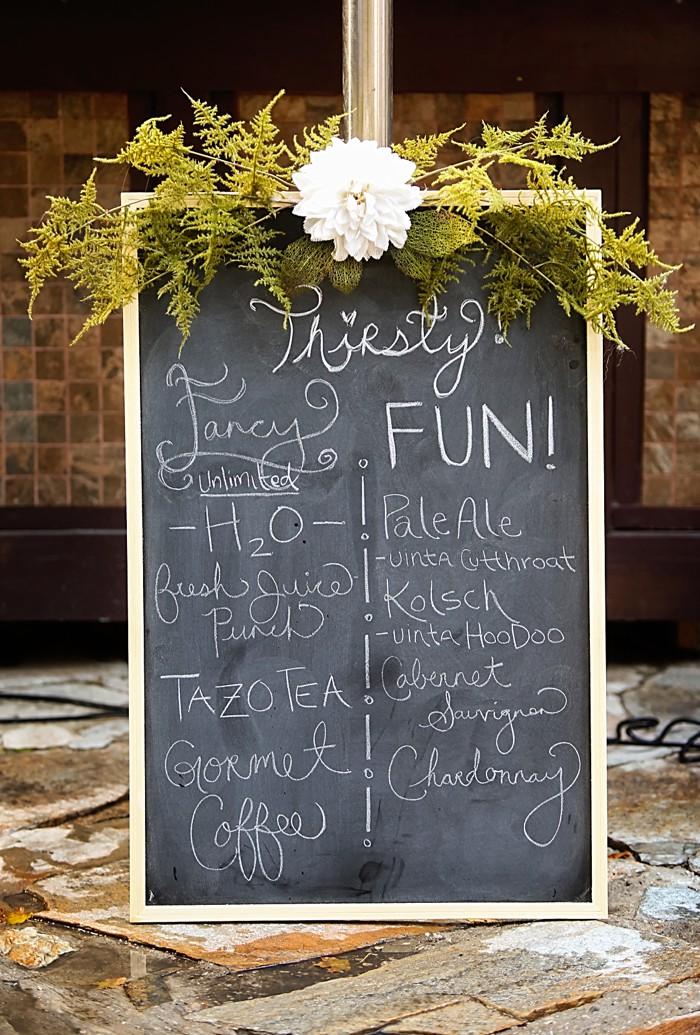 chalkboard drink menu | Snowbird Utah Wedding Logan Walker Photography