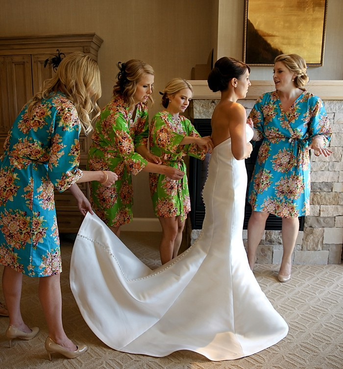 Bridesmaids in printed bathrobes | Deer Valley Utah Wedding | Pepper Nix Photography