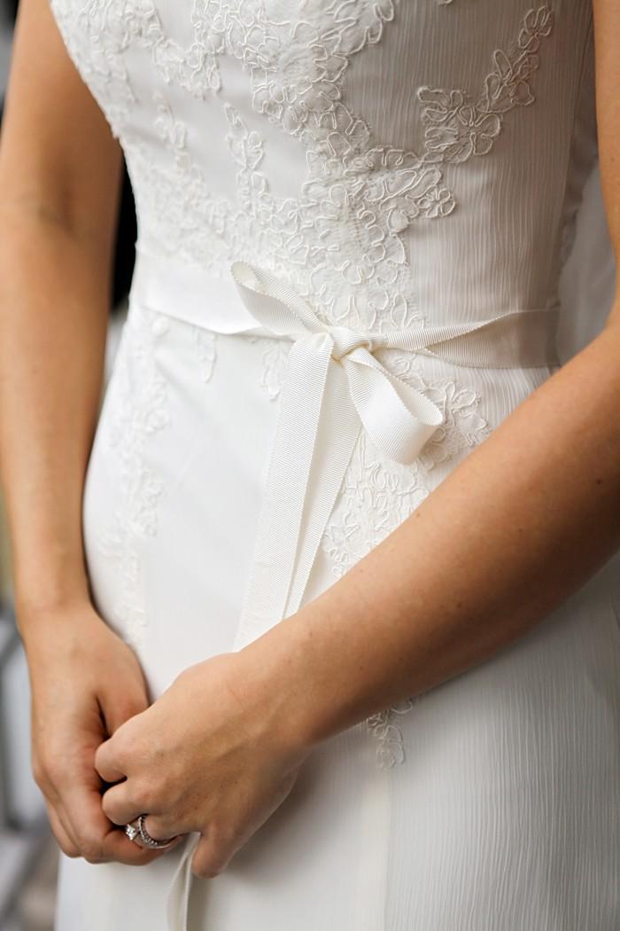 ribbon tie on wedding dress | Snowbird Utah Wedding Logan Walker Photography