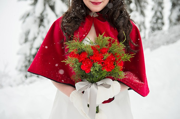 Red cape and bouquet   Emerald Lake winter elopement   Orange Girl