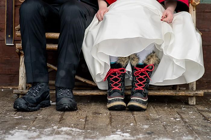 snow boots   Emerald Lake winter elopement   Orange Girl