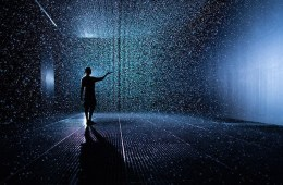 Lid0042721. Telegraph. Someone stands in the 'Rain Room' an installation by Random International where visitors can walk through a 100 square meter field of falling water controlled by movement. The exhibition is showing at the Curve Gallery until March 3, 2013 at the Barbican centre in the City of London Wednesday Oct. 03, 2012. Picture by Christopher Pledger