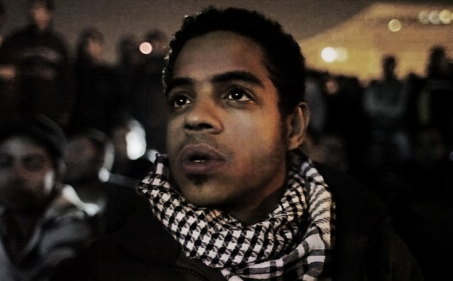 """Ahmed Hassan in Tahrir Square in a scene from Jehane Noujaim's """"The Square"""""""