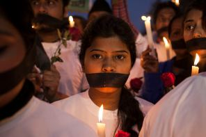 A protest from 2014 after a deadly gang-rape in India.