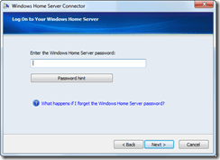 enter the WHS admin password