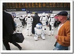 """Jeff Moore 02/04/12<br /> """"THIS PICTURE IS FREE TO USE FOR EDITORIAL PURPOSES""""<br /> Darth Vader, Stormtroopers and R2-D2 spotted in Central London today in anticipation of the Kinect Star Wars game launch on 3rd April, exclusively on Xbox 360.<br /> Beginning 3rd April, Kinect Star Wars brings Star Wars to life like never before. Harnessing the controller-free power of Kinect for Xbox 360, Kinect Star War"""" allows fans to physically hone their Jedi skills, wield the power of the Force in their hands, pilot iconic ships and vehicles, rampage as a vicious Rancor monster, or even dance with iconic Star Wars characters.</p> <p>"""