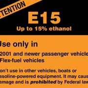 E15 Fuel Warning Label