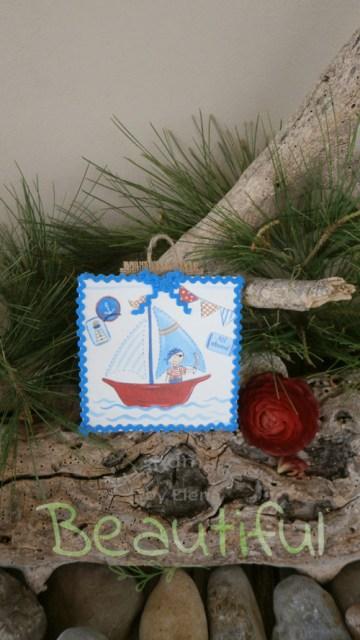 Μπομπονιέρες Βάπτισης. Μπομπονιέρα βάπτισης αγόρι, ξύλινο καδράκι με θέμα καραβάκι χειροποίητο.
