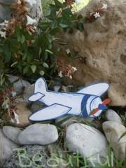 Μπομπονιέρα βάπτισης αγόρι, αεροπλάνο ξύλινο χειροποίητο.