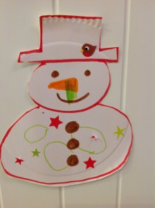 Homemade snowman for bunting