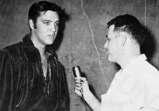 "Jack Cristil interviews Elvis Presley. ""Worst interview I ever did,"" Cristil said years later."