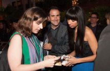 Ms. In The Biz founder Helenna Santos hands out cards while Brian Rodda plays wingman ;)