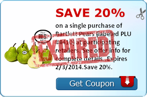 Save 20% on a single purchase of Bartlett Pears (labeled PLU #4410) at participating retailers. See offer info for complete details..Expires 2/3/2014.Save 20%.