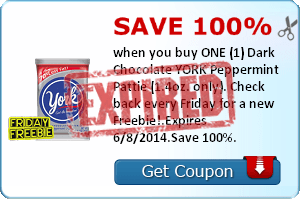 Save 100% when you buy ONE (1) Dark Chocolate YORK Peppermint Pattie (1.4oz. only). Check back every Friday for a new Freebie!.Expires 6/8/2014.Save 100%.