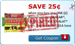 Save 25¢ when you buy any ONE (1) flavor/variety LÄRABAR®, ÜBER®, ALT®  OR JOCALAT® bars..Expires 6/30/2014.Save $0.25.