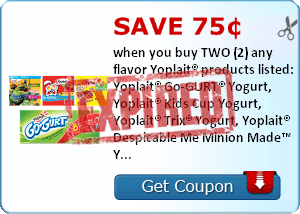 Save 75¢ when you buy TWO (2) any flavor Yoplait® products listed: Yoplait® Go-GURT® Yogurt, Yoplait® Kids Cup Yogurt, Yoplait® Trix® Yogurt, Yoplait® Despicable Me Minion Made™ Yogurt, Yoplait® Hello Kitty® Yogurt, Yoplait® Teenage Mutant Ninja Turtles™