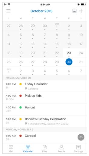 Outlook для iOS календарь