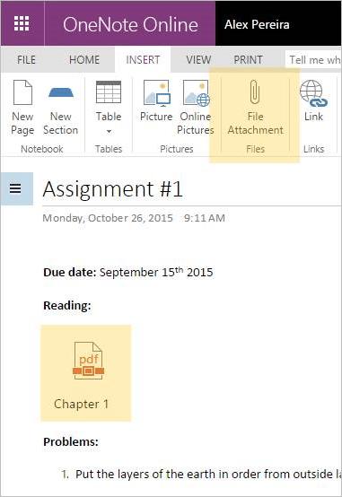 Вложение файла в OneNote Online