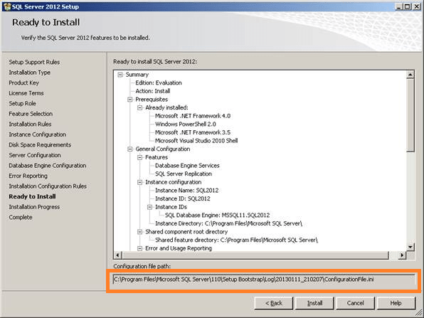 SQL Server Silent  unattended installation using configuration file (4/6)