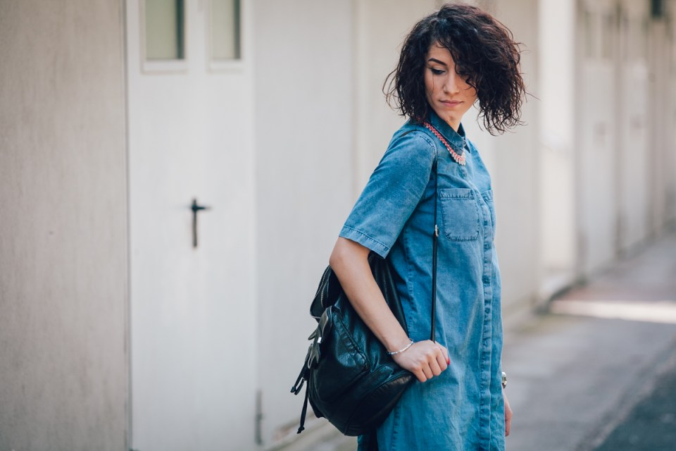 Denim Dress in Blau