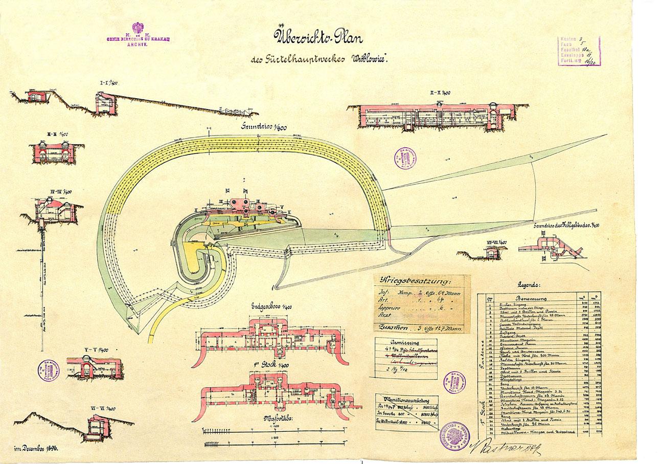 Archiwalny plan fortu