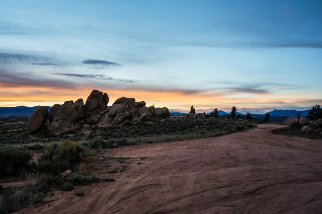 sunset at Hartman Rocks in Gunnison, CO