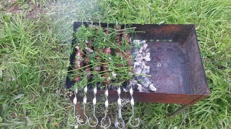 Шашлык из печени с курдюком еда, своими руками, шашлык
