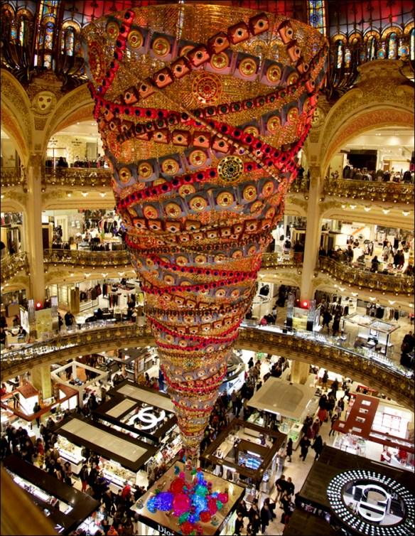 The upside down tree; Galeries Lafayette;Printemps facade, pic: Steve Sampson