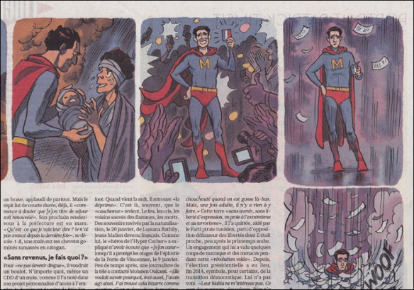 """Article on how an """"illegal resident"""" saved his neighbours in a fire; iIlustrations Frédérik Peeters"""