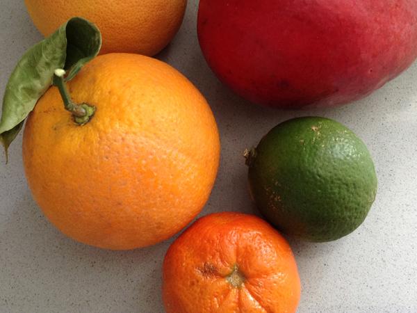 naranja, mandarina, mango, lima