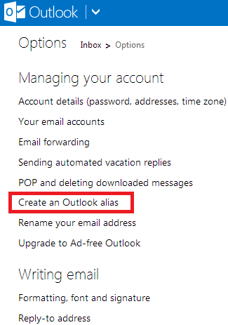 how to create outlook email