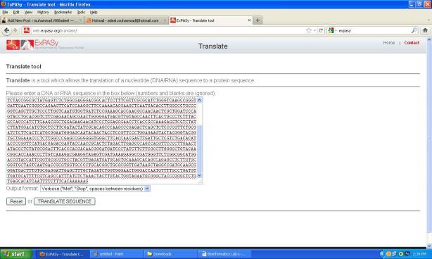Genomics Lab Resource-Using ExPasy Translate Tool   muhammad1988adeel