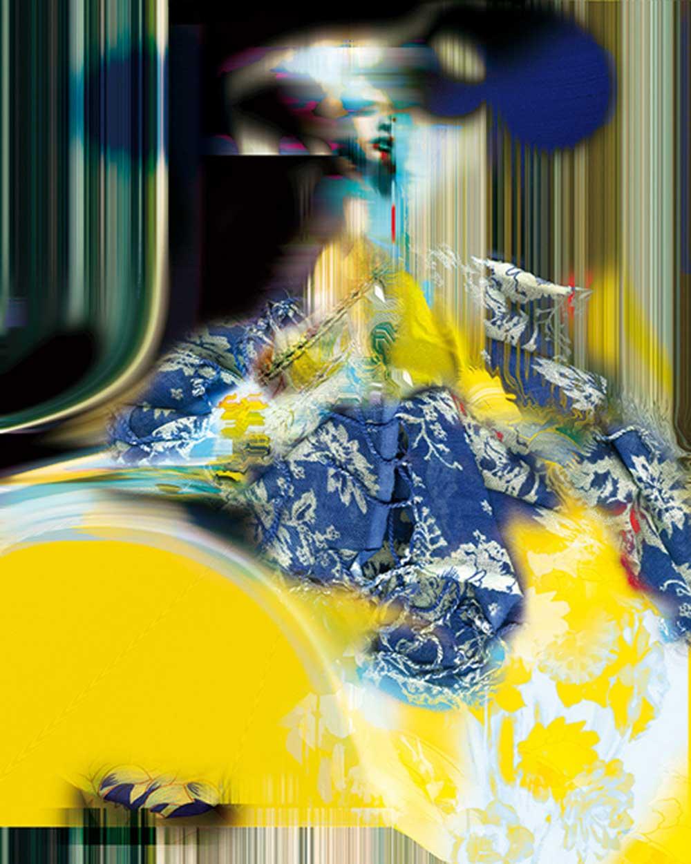 © Emma Fernández Granada | Dama enganzando azules y amarillos sobre miriñaque
