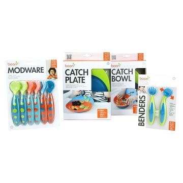 Make dinner time a delight with the ergonomic handles and child-safe plastics of this Ergonomic Feeding Set from Boon. Made from plastic that's free of PVC, phthalates, and BPA for safety and durability.