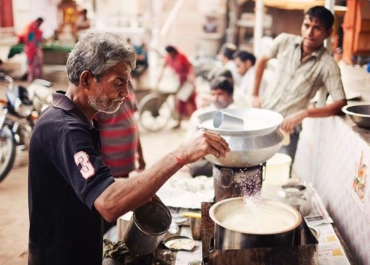 Indian food cooking on street