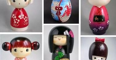 Bonecas kokeshi estilo moderno (Foto: Montagem Mundo-Nipo)