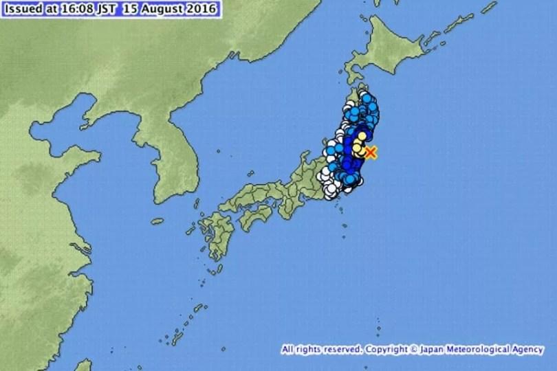 O mapa mostra o epicentro do tremor e as áreas atingidas (Foto: Agência Meteorológica do Japão )