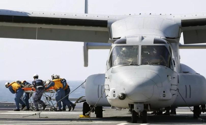 Aviões Osprey já participaram de exercício de simulação de desastre em Osaka, em 2014 (Foto: Arquivo/Kyodo)