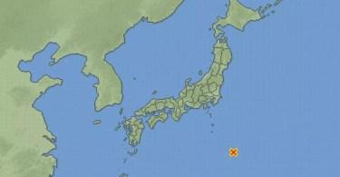O mapa mostra onde ocorreu o epicentro do terremoto (Foto: Reprodução/JMA
