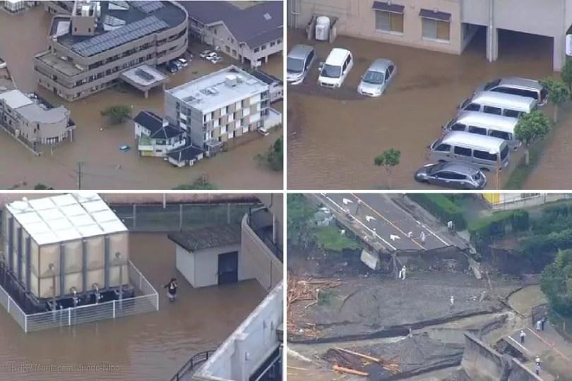 Malakas provocou amplas inundações no sul e oeste do Japão (Fotos: NHK/Montagem MN)