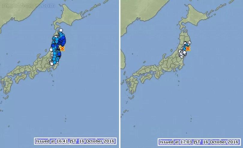 O mapa mostra onde ocorreram os epicentros e as áreas afetadas (Foto: JMA/Montagem MN)