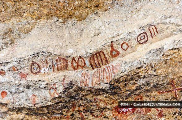 Pinturas rupestres de los Mayas encontradas en Nentón, Huehuetenango, foto por Maynor Marino Mijangos.