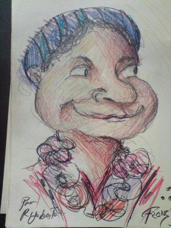 Caricatura de la Dra. Rigoberta Menchú Tum.