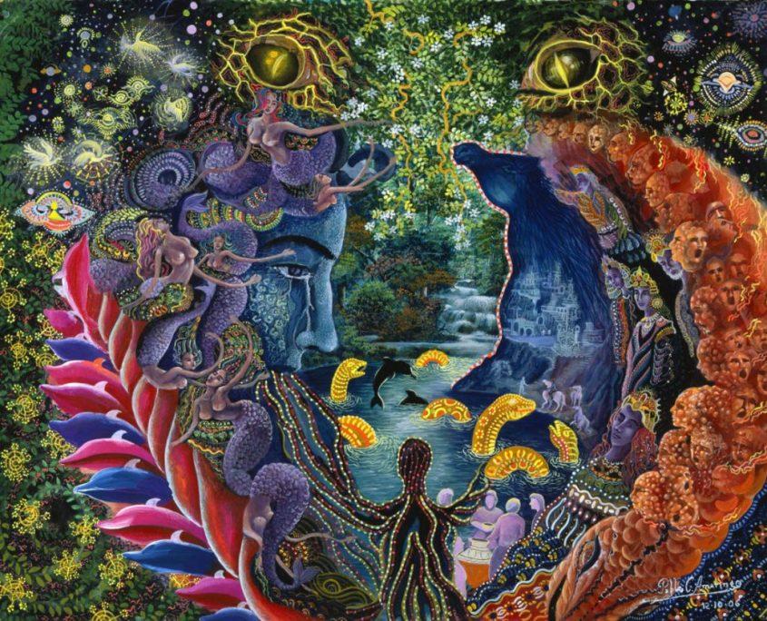 "Llullon Llaki Supai por Pablo Amaringo. Aparece no livro ""The Ayahuasca Visions of Pablo Amaringo"" (""As visões de Ayahuasca de Pablo Amaringo"") por Howard G. Charing."