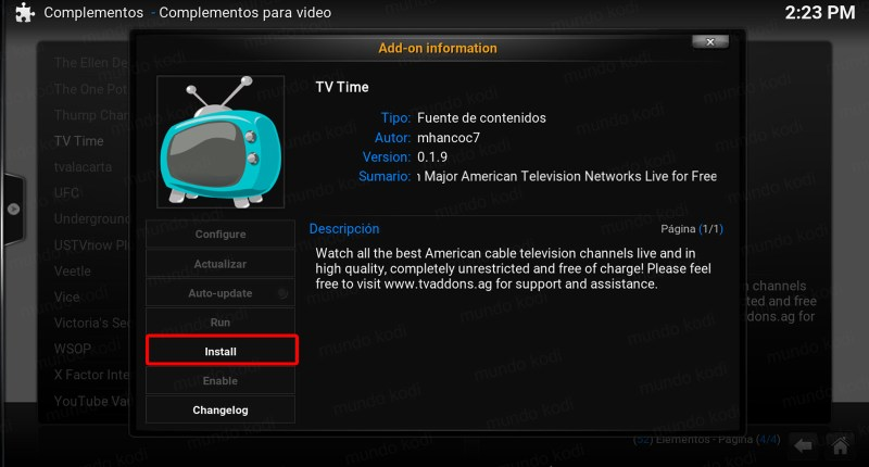 tv time en kodi. 5 install
