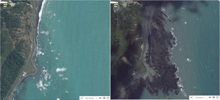 La línea costera de Kaikoura antes y después del terremoto.