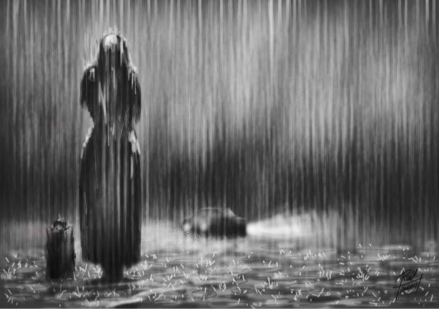 """Bajo la lluvia"" arte digital de Raul Tamarit"